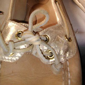 Firefish Boat Shoes Womens   Glitter Gold, Size 9